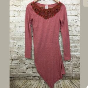 Free People Dress Asymmetrical Red Long Sleeve